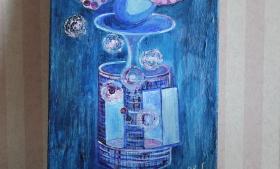 Kuvassa Heli Lehtokummun maalaus Unelmien synty